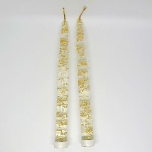 MCM Lucite gold flake pair of candles